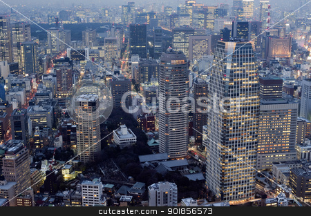 Tokyo City stock photo, Panoramic view of the high density metropolitan buildings in central Tokyo, Japan by Stephen Gibson