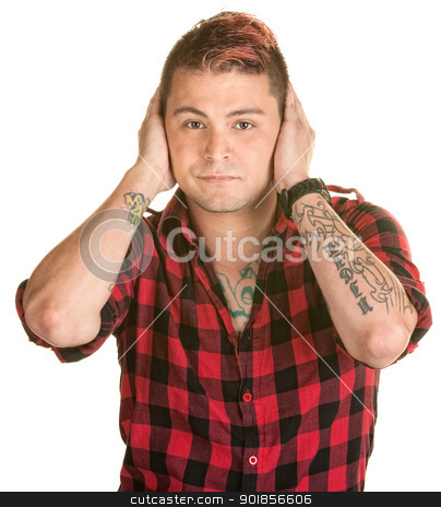 Man Covering His Ears stock photo, Handsome young man with spiky hair covers his ears by Scott Griessel