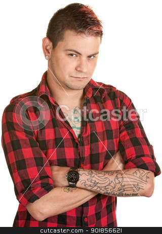 Doubtful Young Male stock photo, Suspicious young man with folded arms over white by Scott Griessel