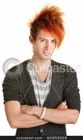 Young Punk Rocker with Folded Arms stock photo, Happy male with spiked hair over white background by Scott Griessel