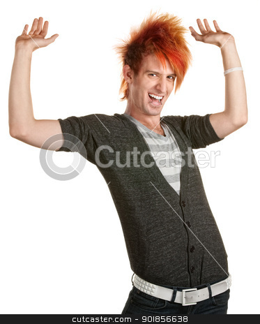 Man with Mohawk Holding Something Up stock photo, Excited young man yelling with hands up by Scott Griessel