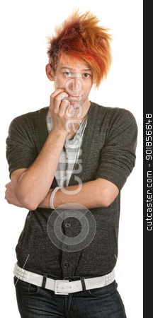 Young Man Thinking stock photo, Thinking teenage male with folded arms over white by Scott Griessel