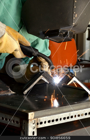 Man Welding stock photo, Arc Welding and sparks flying by Timothy OLeary