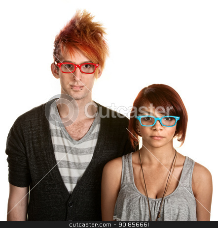 Teen Couple with Glasses stock photo, Cute teen couple with red and blue eyeglasses by Scott Griessel