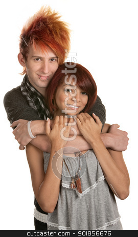 Hipster Mixed Couple stock photo, Young man in orange hair hugging girlfriend by Scott Griessel