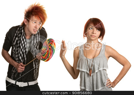 Lady Dismisses Man's Candy stock photo, Pretty mixed race girl dismisses naive man with lollipop by Scott Griessel