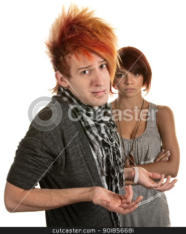 Frustrated Girlfriend stock photo, Young man with hunched shoulders and frustrated girlfriend by Scott Griessel