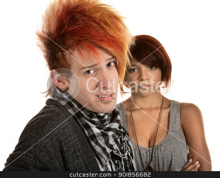 Mad Woman with Naive Man stock photo, Young lady frustrated with boyfriend in orange hair by Scott Griessel