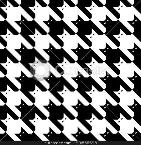 CatsTooth Pattern in Black and White stock vector clipart, Seamless ...