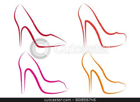 high heel shoes, vector set stock vector clipart, high heel shoes line art, vector set by Beata Kraus