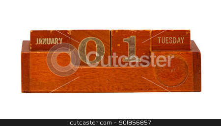wooden calendar 2013 New year January 1 Tuesday  stock photo, Retro vintage wooden calendar show 2013y New year date January 1st Tuesday  by sauletas