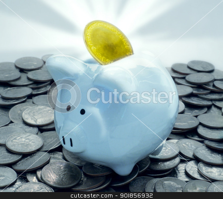 Shiny Piggy Bank With Glowing Gold Coin On Pile Of Quarters stock photo, Shiny Reflective Piggy Bank With Glowing Gold Coin On Pile Of Quarters by Matt Jones