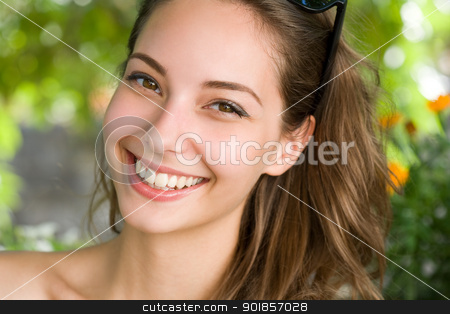 Happy young brunette woman with amazing smile. stock photo, Portrait of a happy young fun brunette woman with amazing smile. by exvivo