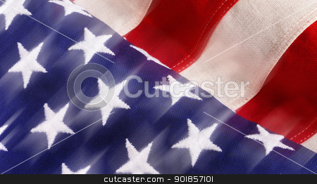 USA Flag. stock photo, Flag with movement. by WScott