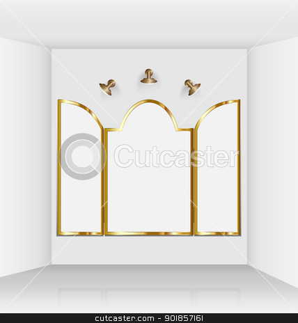 Virtual art gallery with gothic frames stock vector clipart, Virtual art gallery with composed gothic empty frames made ready for art imposition by Vladimir Repka
