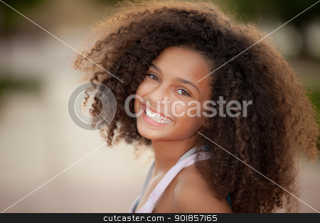 african descent child stock photo, happy smiling african descent child with afro hair style by mandygodbehear