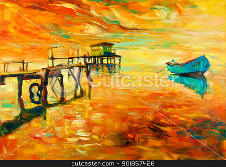 Oil painting stock photo, Original oil painting of boat and jetty(pier) on canvas.Sunset over ocean.Modern Impressionism by borojoint