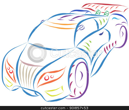 sports car stock vector clipart, abstract sports car sketch by Ioan Panaite