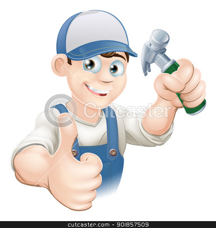 Thumbs up carpenter or builder stock vector clipart, Illustration of a happy handyman, builder, construction worker or carpenter in work clothes holding a hammer and giving thumbs up by Christos Georghiou