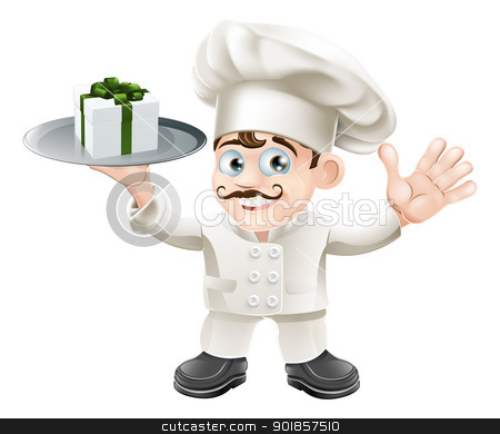 Chef with present stock vector clipart, Illustration of a chef with a present on a silver platter by Christos Georghiou