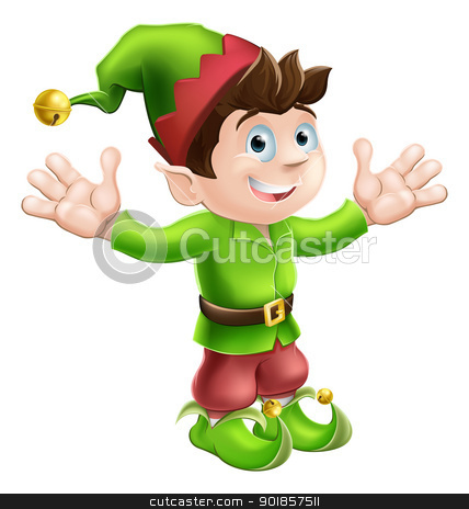 Christmas elf waving stock vector clipart, Christmas illustration of a cute happy Christmas Elf smiling and waving by Christos Georghiou