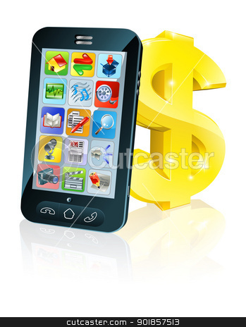 Cell phone and gold dollar sign stock vector clipart, Illustration of cell phone leaning on dollar sign. Concept for financial app, or best phone deals or other finance cell phone related.  by Christos Georghiou
