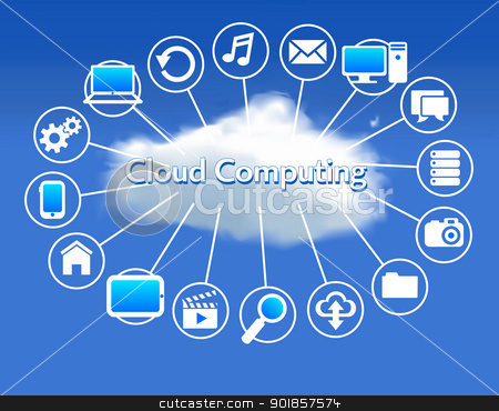 Cloud Computing concept stock vector clipart, Client computers communicating with resources located in the