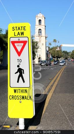 Crosswalk stock photo, Neon yellow crosswalk sign in down town Ojai by Henrik Lehnerer