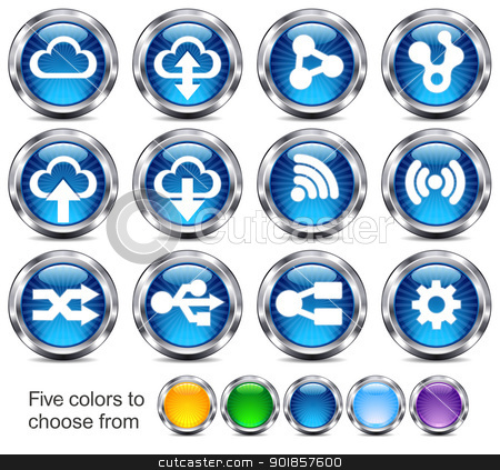 Technology icons stock vector clipart,  Internet button Icons for future technology by Fenton