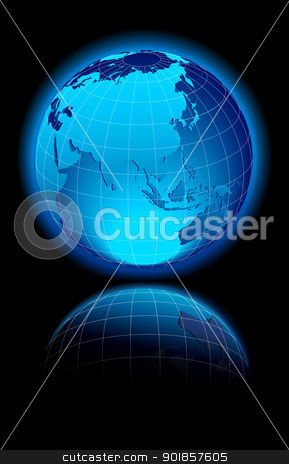 World on black background China & Asia stock vector clipart, The map was traced manually using the pen tool for maximum detail. The base map is from NASA. All elements are grouped and on individual layers in the vector file for easy use. by Fenton