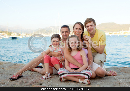 family on holiday stock photo, happy family on summer vacation or holiday by mandygodbehear