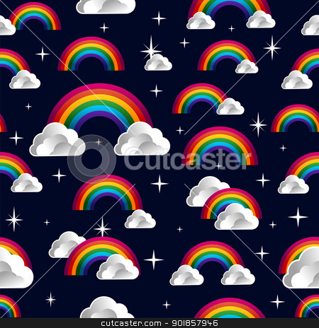 Rainbow with clouds cartoon seamless pattern stock vector clipart, Rainbow and clouds cartoon seamless pattern. Vector illustration layered for easy manipulation and custom coloring. by Cienpies Design