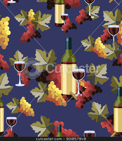 Bottle and glass wine seamless pattern stock vector clipart, Wine Bottle and glass with grapes seamless pattern background. Vector illustration layered for easy manipulation and custom coloring. by Cienpies Design