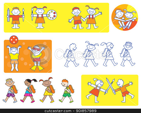 Small kids school icons stock vector clipart, Different activities of preschool children by Vanda Grigorovic