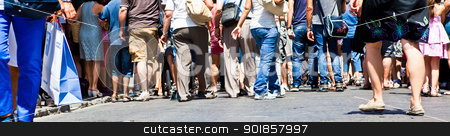 Street crowd stock photo, Crowd of people walking in the street by Dario Rota