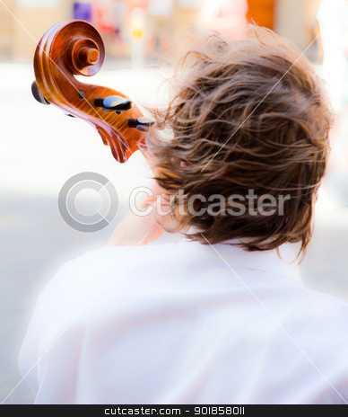 young viola player stock photo, Young man playing viola by Dario Rota
