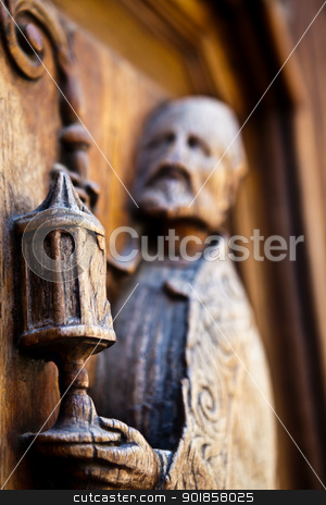 Old religious artefact stock photo, Old wooden religious handmade artefact by Dario Rota
