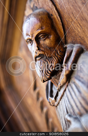 Old religious artefact stock photo, Old wooden religious handmade artefact by Dario Rota