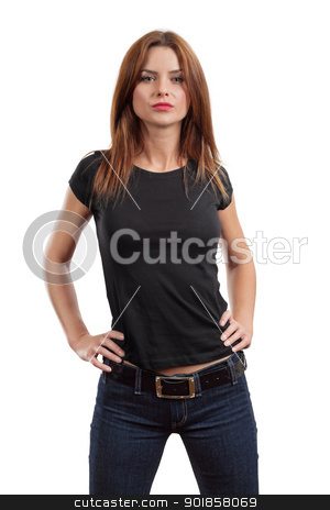 Sexy female posing with blank black shirt stock photo, Young beautiful brunette female with blank black shirt. Ready for your design or artwork. by © Ron Sumners