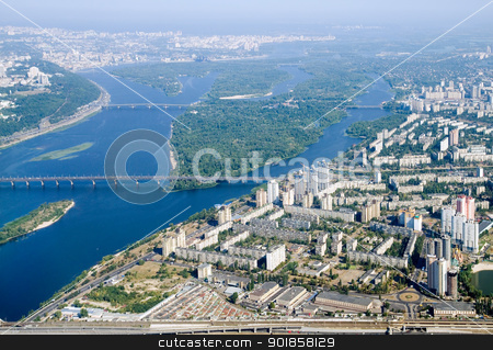 Kyiv city - aerial view. stock photo, Kyiv capital city of Ukraine. Aerial view. by Oleksiy Fedorov