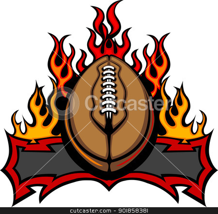 American Football Template with Flames Vector Image stock vector clipart, Graphic American Football Vector Image Template with Flames by chromaco