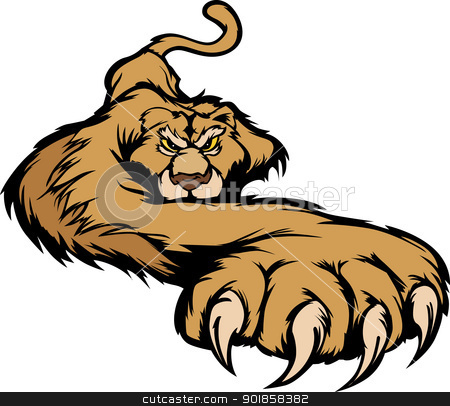 Cougar Mascot Body Prowling Vector Graphic stock vector clipart, Graphic Mascot Vector Image of a Prowling Cougar Body by chromaco