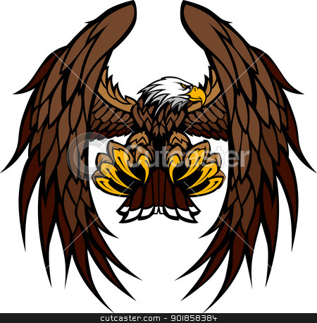 Eagle Wings and Claws Mascot Vector Illustration  stock vector clipart, Flying Eagle with Wings and Talons Graphic Mascot Vector Image by chromaco