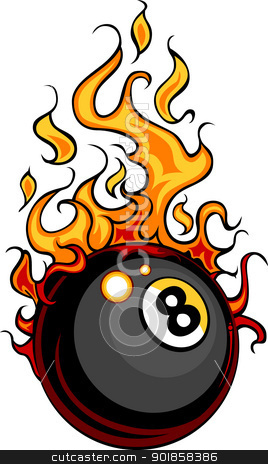 Billiards Eight Ball Flaming Vector Cartoon stock vector clipart, Flaming Billiards Eight Ball Vector Cartoon burning with Fire Flames by chromaco