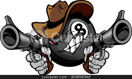 Billiards Pool Eight Ball Shootout Cartoon Cowboy stock vector clipart, Cartoon image of a Billiards Eigthball with a face and cowboy hat holding and aiming guns  by chromaco