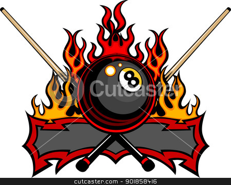 Billiards Eight Ball Flaming Vector Design Template stock vector clipart, Flaming Billiards Eight Ball with cue sticks Vector Template burning with Fire Flames by chromaco