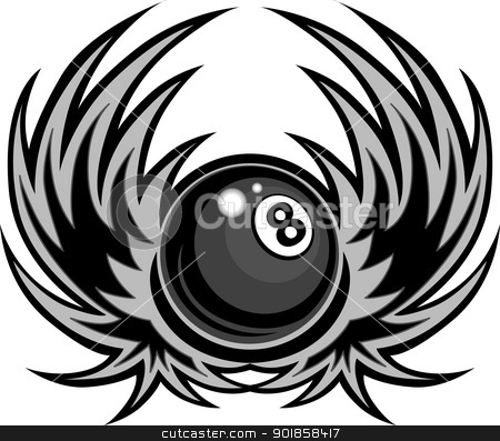Billiards Eight Ball with Wings Vector Illustration stock vector clipart, Billiards Eight Ball with Wings Vector Template  by chromaco