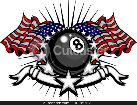 Billiards Eightball Vector Template with Flags and Stars stock vector clipart, Stars and Stripes Patriotic American Billiards Eightball Image with American Flags by chromaco