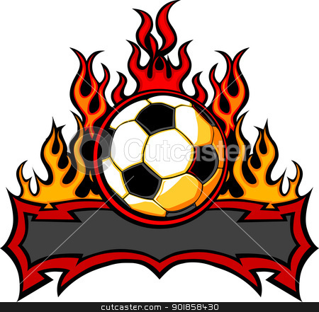 Soccer Template with Flames Vector Image stock vector clipart, Graphic Soccer Ball Vector Image Template with Flames by chromaco