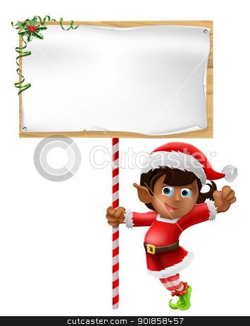 Christmas elf holding a sign stock vector clipart, Cartoon woman or girl Christmas elf in Santa Christmas hat holding a sign by Christos Georghiou